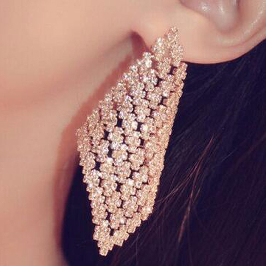 Fashion Korean New Baroque Rhinestone Diamond Earrings NHNT199795