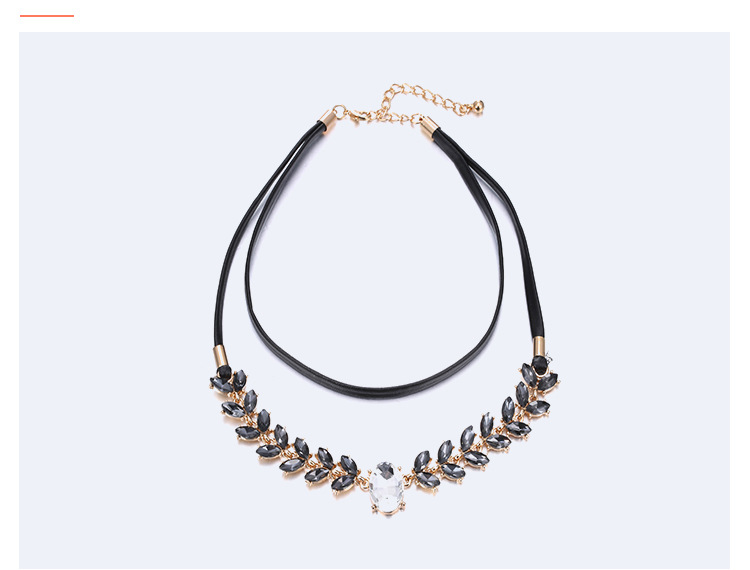 Fashion OL alloy Inlaid gemstones necklace (Gold black)NHNTF1237-Gold black