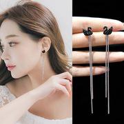 黑白天鹅流苏耳钉 925纯银针精致镀18K黑金白金日韩女时尚耳环