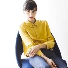 衬衫女 娃娃领 彼得潘领黄色真丝长袖衬衫衬衣上衣