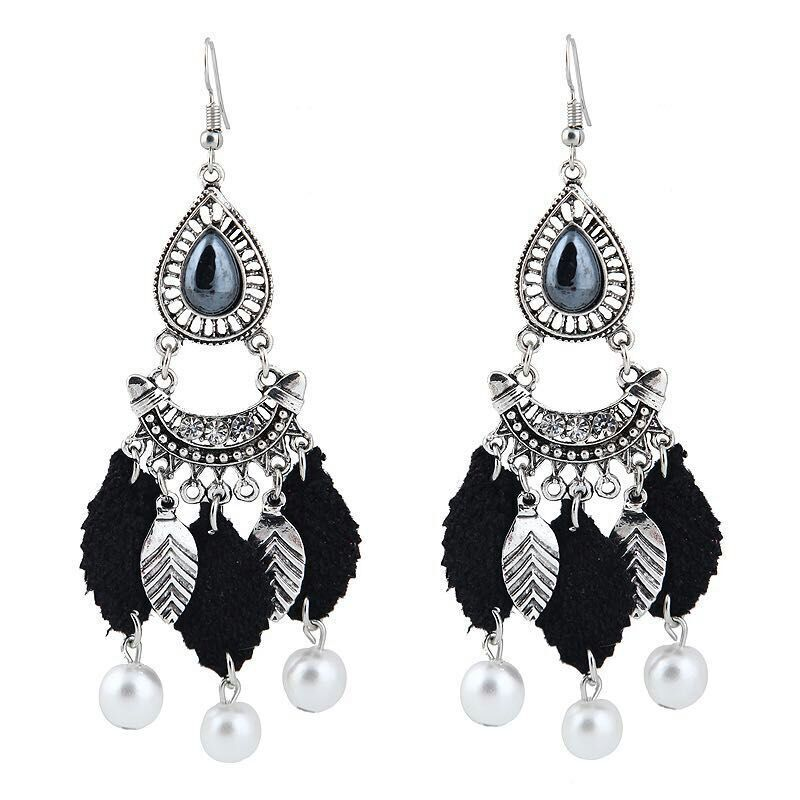 Occident and the United States alloy Drip oil earring (12 Ancient Silver - Black)NHKQ1164-12 Ancient Silver - Black