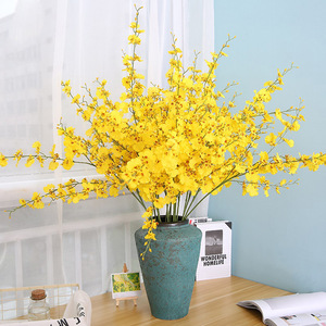 High-grade yellow artificial flower Dancing orchid home decoration fake flower Artificial plant home wedding artificial flowers