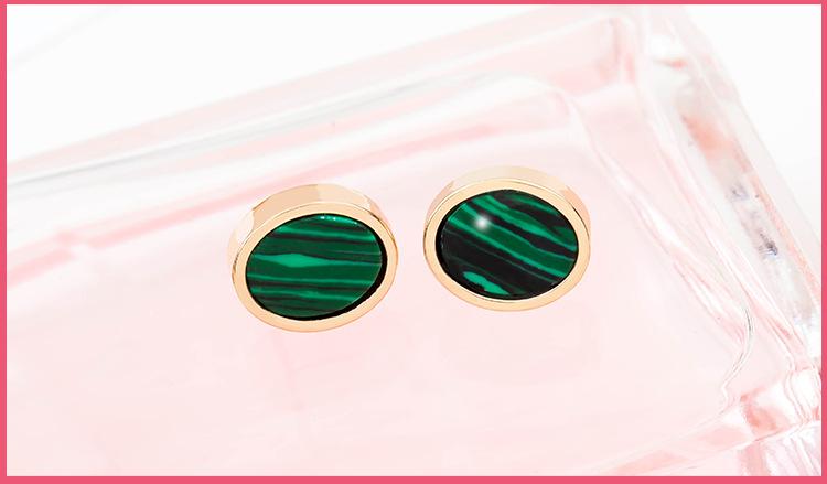 Marble emerald geometric circle triangle turquoise earrings NHDP203049