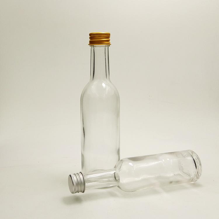 圆形透明50ml 100mML玻璃小号酒瓶白酒瓶果醋瓶 饮料瓶密封瓶