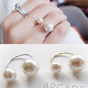 D006 net red Japanese and Korean pearl ring female fashion opening adjustable size wild simple personality ring jewelry