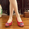 Summer new style butterfly, flying bottom, thin bottom embroidered cloth shoes, folk style slippers, square dance, women
