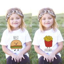 2017夏季新款儿童圆领短袖 创意汉堡薯条印花T恤 欧美风 一件代发