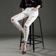 欧美时尚破洞牛仔裤毛边女式新款牛仔裤春季白色垮裤弹力裤女长裤
