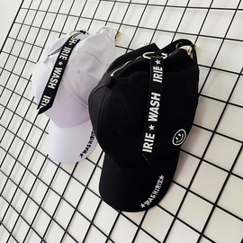 Hipster Harajuku smiley face letter baseball cap with duck tongue hat black hip-hop hat men and women street summer