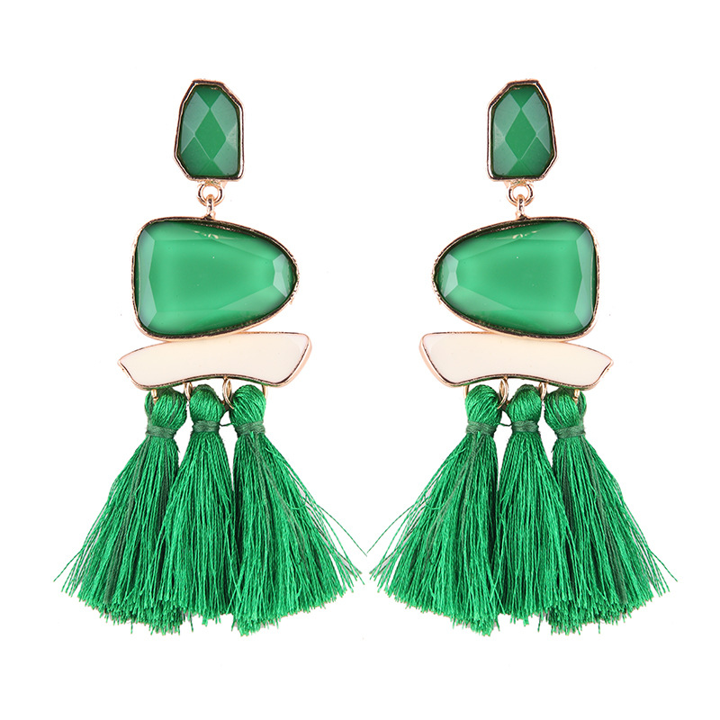 Alternative alloy hand made earring (green)NHJQ9193-green