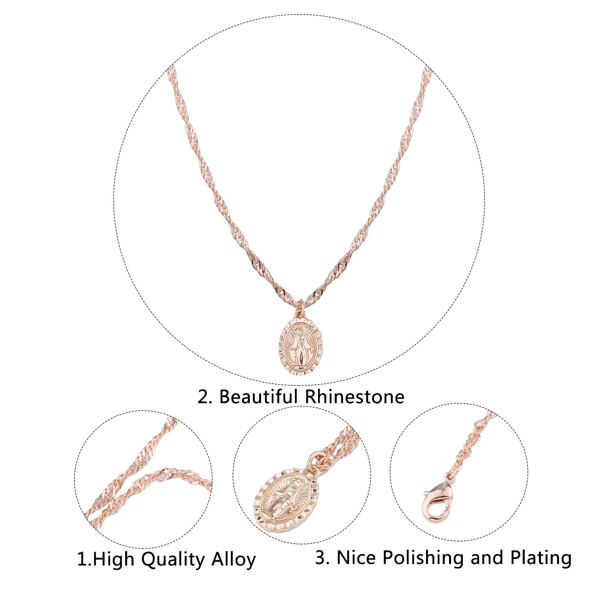 Simple Alloy plating necklace Geometric cross  NHNMD4019