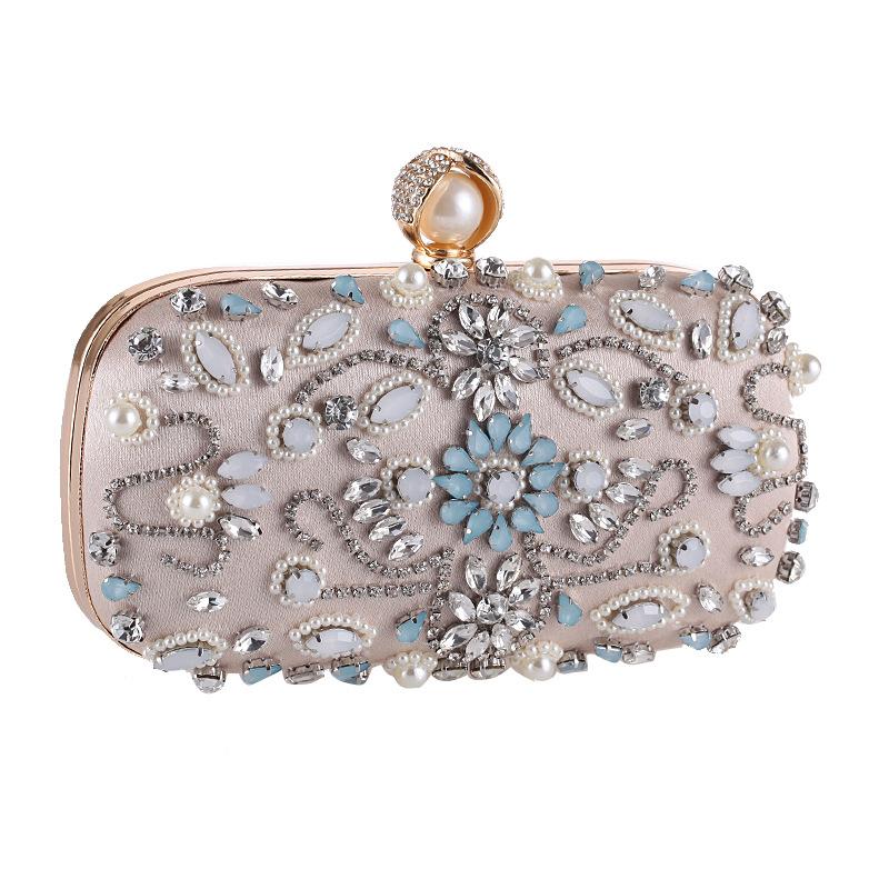 European and American new handmade beaded banquet bag with diamond clutch NHYG174710
