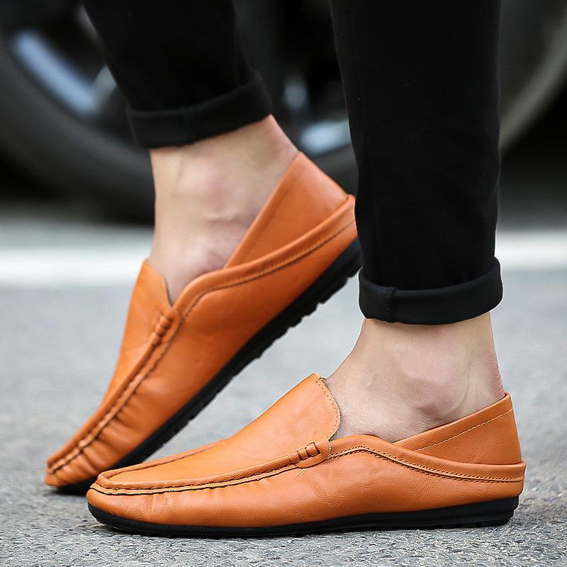 春季夏季新款韓版男士豆豆鞋套腳透氣男鞋子休閑舒適學生駕車黑皮