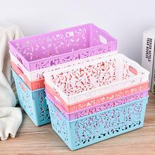 收纳筐 塑料储物箱镂空小号收纳筐编织收纳盒无盖收纳箱 厂家直销