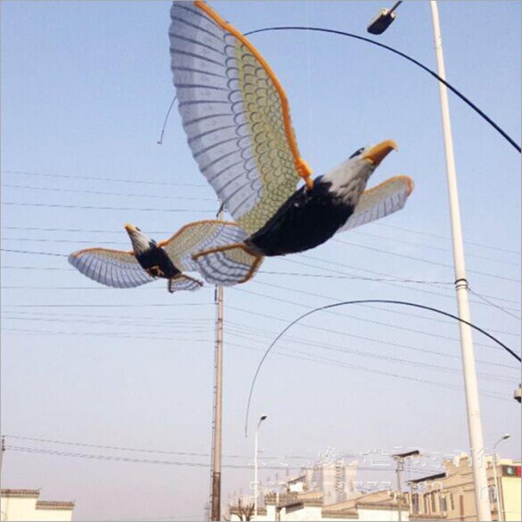 电动小鸟吊线老鹰伸缩杆飞鹰飞鸟马鹦鹉钓竿子 眼睛会亮飞行玩具