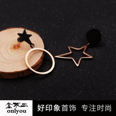 金不二丨供应镀18K玫瑰金色不规则黑面星星圆形不对称钛钢耳环
