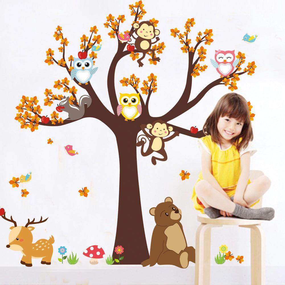 084卡通森林动物猫头鹰猴子大树墙贴卧室客厅儿童房环保装饰墙贴