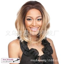 Foreign trade wig European and American women's fashion mid-long curly hair top dyeing set hair replacement sw7617