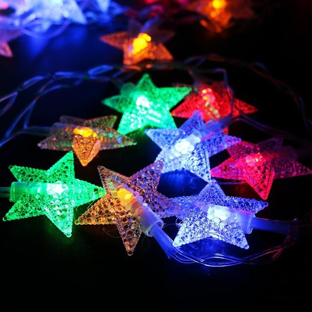 led铜线星星灯串派对圣诞灯饰灯串led装饰五角星彩灯串 厂家批发