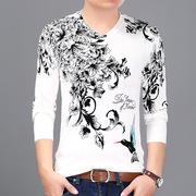 2017冬季新款男士针织T恤V领青年韩版印花毛衣男白色男装一件代发