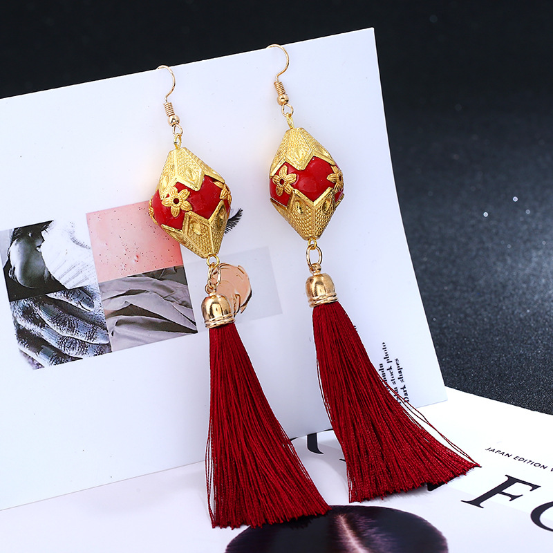 Retro alloy plating earring (black)NHVA4517-black