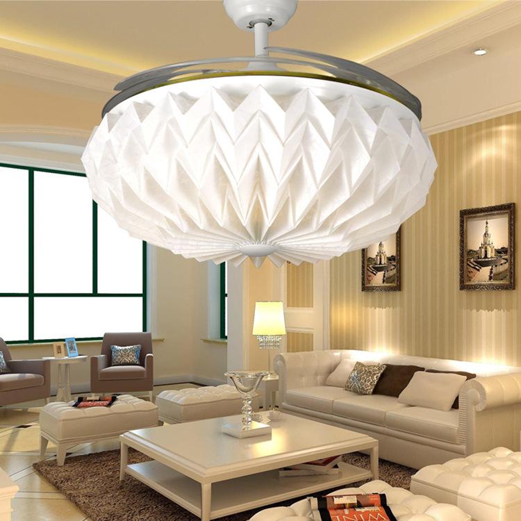 隐形吊扇灯led餐厅风扇灯客厅家用卧室简约时尚遥控扇变频扇42/52