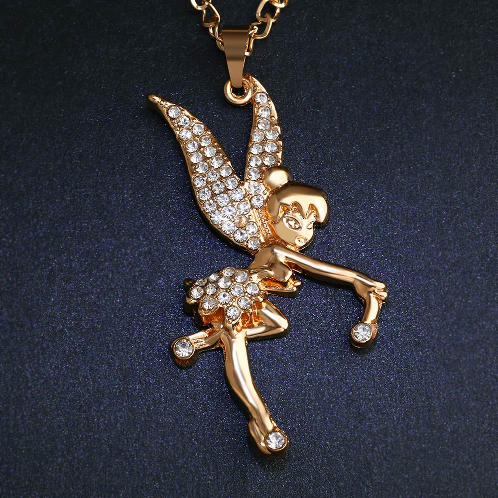 Womens Angel Rhinestone Alloy Necklaces NHAS120854