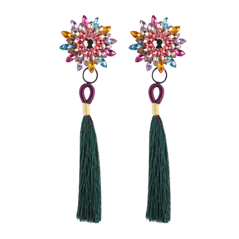 folk-custom alloy Inlaid stones earring (Pink)NHJQ9349-Pink