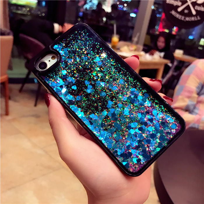 R15 quicksand black apple 6S mobile phone shell iPhoneX7plus glitter love sequins X20 protective cover soft edge
