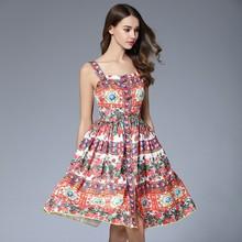 速賣通亞馬遜熱賣款夏季女裝2017吊帶花瓣紐扣印花修身A字連衣裙
