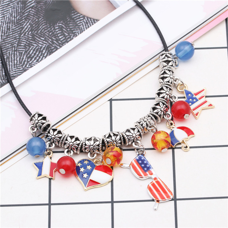 Fashion American Flag Necklace Clavicle Chain Heart Star Anchor DIY Pendant Necklace NHYL199473