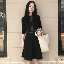 2020春装新款韩版复古小香风蝴蝶结圆领中长款显瘦连衣裙女装