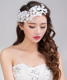 Bridal jewelry handmade white headdress crystal lace beaded hair accessories Korean butterfly wedding accessories