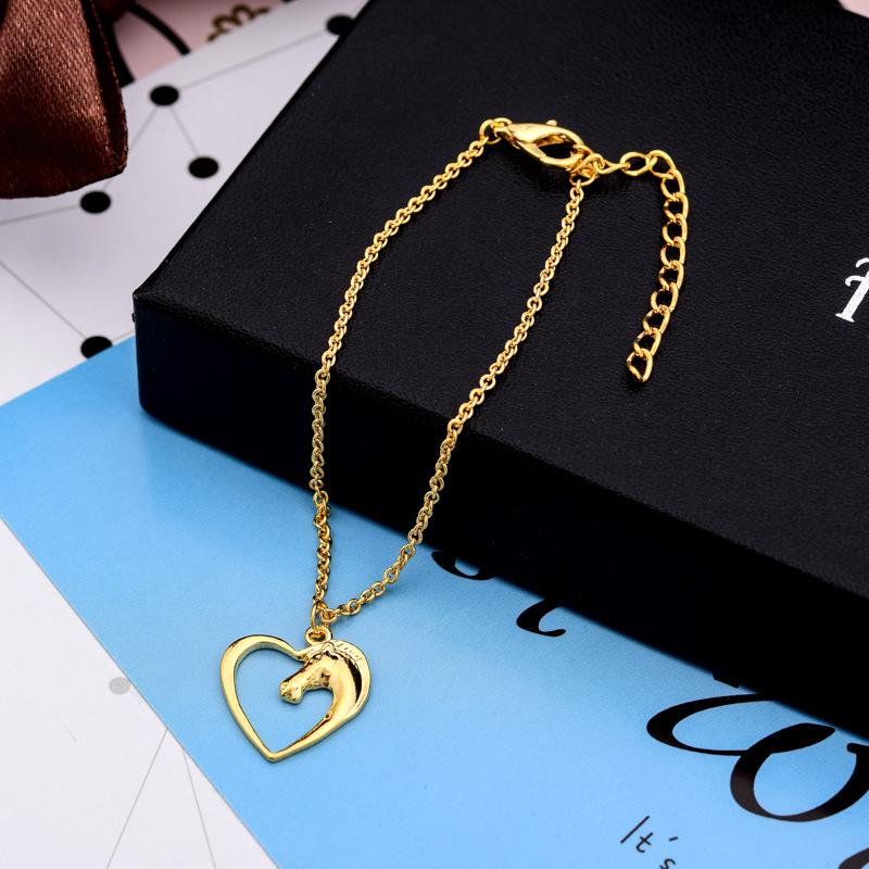 Peach heart bracelet gold and silver animal horse head pendant bracelet anklet wholesale NHCU206475
