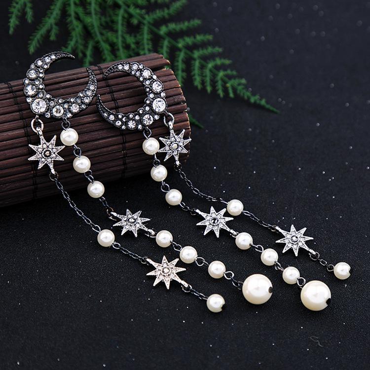 Womens Star Rhinestone Alloy Earrings NHQD125459