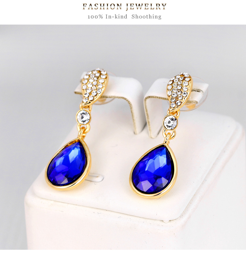Fashion Shiny Water Drop Crystal Earrings Alloy Diamond Colorful Earrings NHDR198231