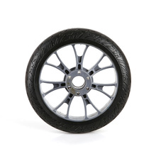 廠家直供8寸環保耐磨PU輪電動滑板車輪子有剎車盤孔20036花紋輪