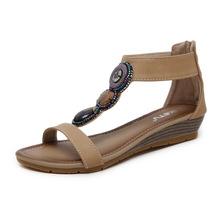 Giày cao gót đế xuồng mạnh mẽ 268-1 2019 Giày đế bệt La Mã cỡ lớn với giày nữ bán buôn một thế hệ bán hàng trực tiếp Dép nữ