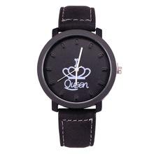 新款創意皇冠情侶手表 男士大表盤queen king休閑韓國絨石英手表