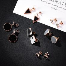 日韩简约百搭钛钢耳钉 气质三角圆形几何耳饰品女 钛钢合集系列