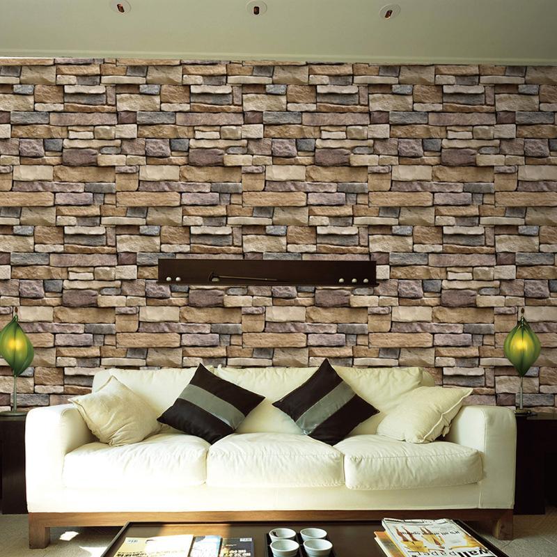 自粘墙纸背景墙仿真岩纹砖块壁纸墙壁贴饭店面餐厅装修客厅3D贴纸