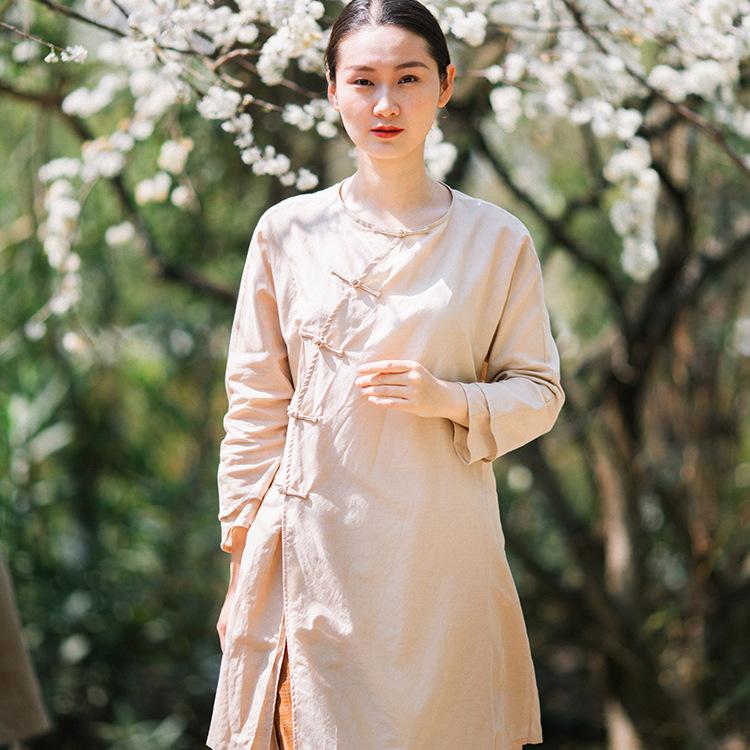 原创仙女裸色真丝衬衫中式改良旗袍长衫古典汉禅茶服P-17009-1捌