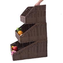 大量现货超市商场展示筐 粗铁框架外编织环保仿藤 环保坚固收纳筐