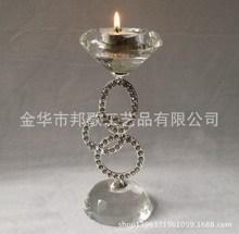 锌合金水晶烛台 浪漫气氛布置用品 软装摆台 厂家直销