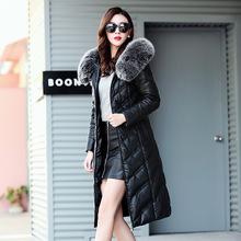 冬裝新款真皮羽絨服女中長款海寧皮衣大碼狐貍毛領修身綿羊皮外套