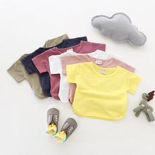 跑量款童T恤 儿童夏季麻棉短袖t恤蝙蝠开叉韩版童装