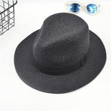 新款韓版毛呢帽男士英倫時裝羊毛呢爵士氈帽灰色禮帽爺爺批發