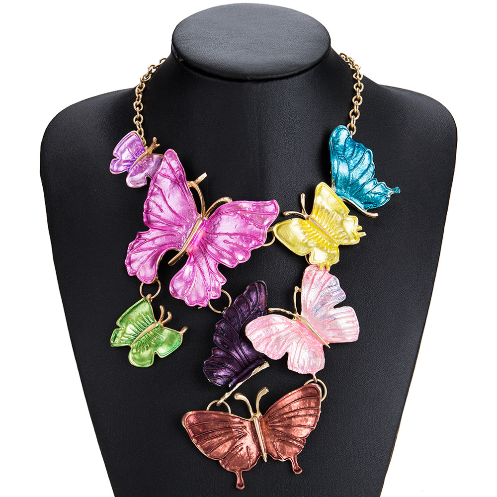 Exotic alloy plating necklace (color)NHJE0469-color