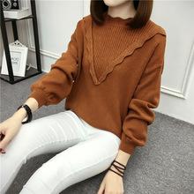 秋季韩版2017立体V领针织衫女荷叶领?#21487;?#23485;松套头厚毛衣上衣批发