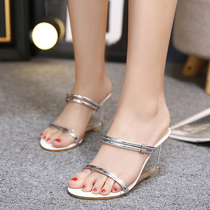 Metal ring wedge shoes for laydy